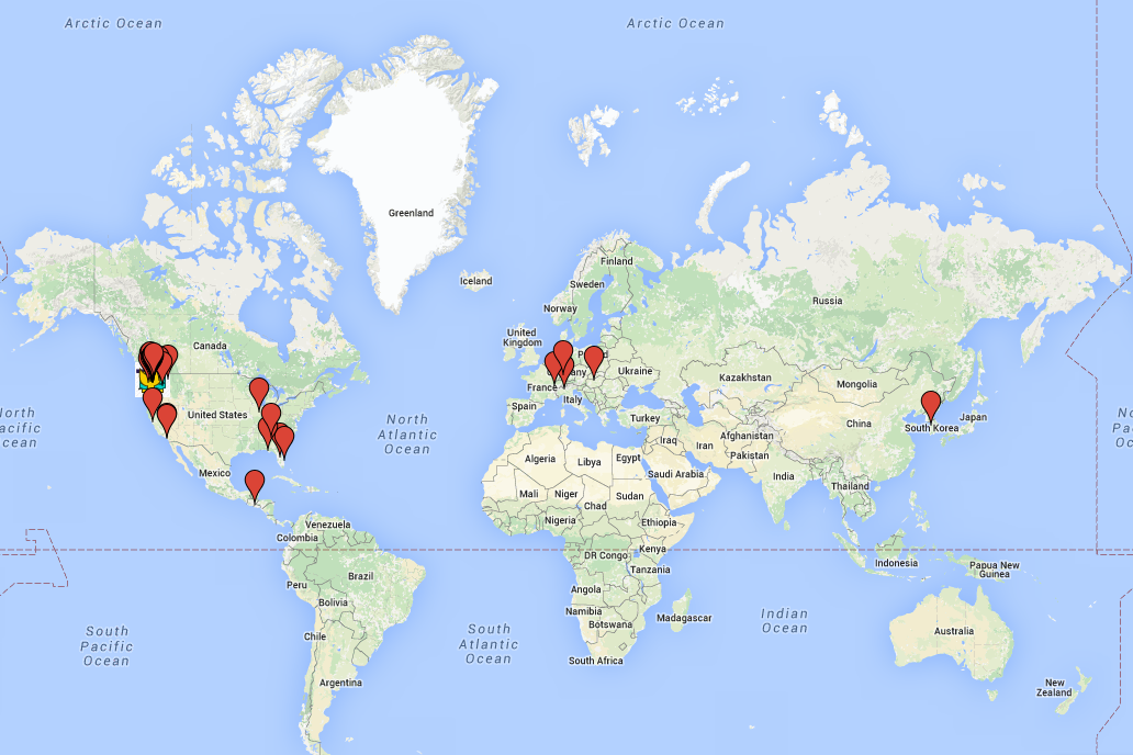 World Map with ISS staff and student locations mapped