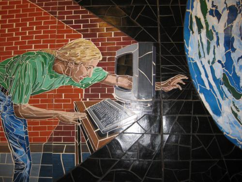 Person reaching through computer - mosaic